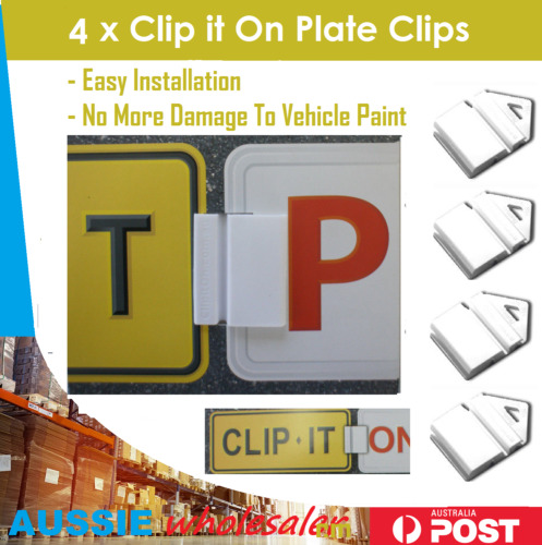 4x white Clip It On Plate Clips for Car Number Licence and p/l plate easy to use