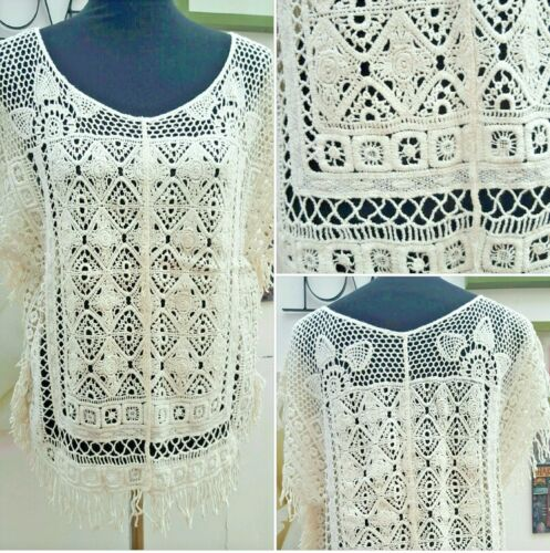 NEXT CREAM CROCHET BEACH COVER UP TOP with TASSEL&FRINGED HEM  S/M and L/XL