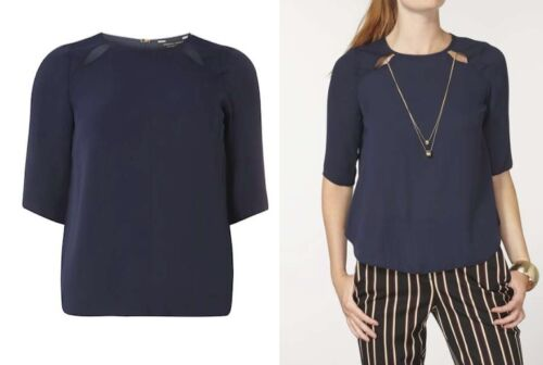 DOROTHY PERKINS NAVY DOUBLE CHAIN NECK SHORT SLEEVE BLOUSE/TOP  SIZES 8 to 16