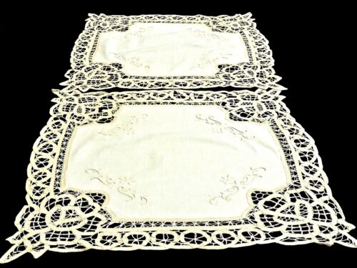 GORGEOUS VINTAGE ECRU COTTON BUTTENBURG LACE 2 TABLE TOPPERS UNUSED