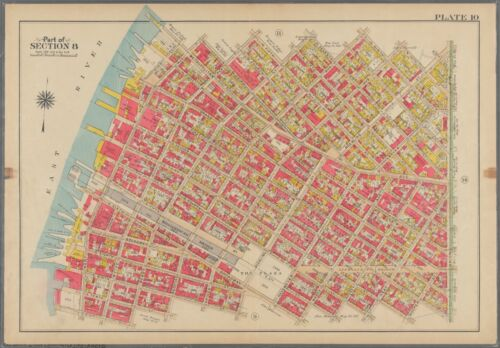 ORIGINAL 1908 WILLIAMSBURG BRIDGE BROOKLYN NY P.S. 17 & 143 ATLAS MAP