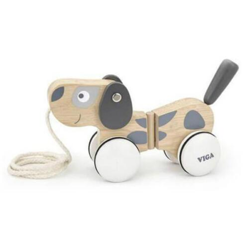 NEW Childrens Viga Toys Wooden Pull Along Puppy - Baby Pull Toy