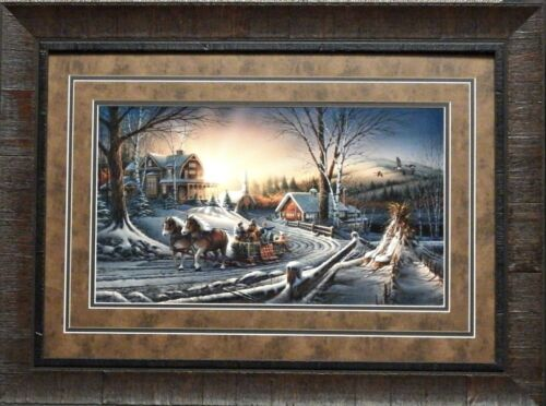 Terry Redlin Pleasures of Winter Horse and Sleigh Print-Framed
