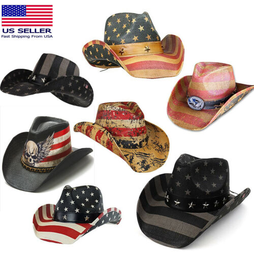d7b438b1d1600 New with tags Men s Vintage Tea-Stained USA American Flag Shape-It Brim Cowboy  Hat w  Western + Free shipping