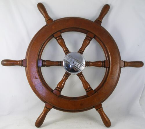 "Antique salvaged Trojan Helm Wheel  Ship wheel   22.5"" Mahogany, Sea Breeze"