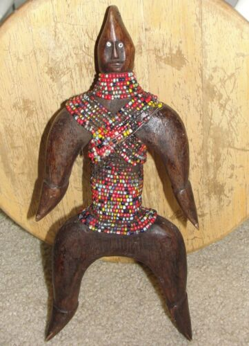 Old African Namji Doll Statue Figure Africa Tribal Namchi Beaded CAMEROON  ART