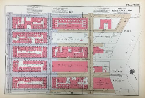 1934 EAST HARLEM E95 - E105 ST & EAST RIVER TO 5TH AVE MANHATTAN NY ATLAS MAP