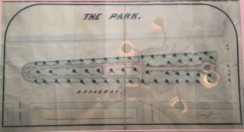 "ORIGINAL 1860's FLUSHING, NY ""THE PARK"" HAND DRAWN RENDERING MAIN STREET"