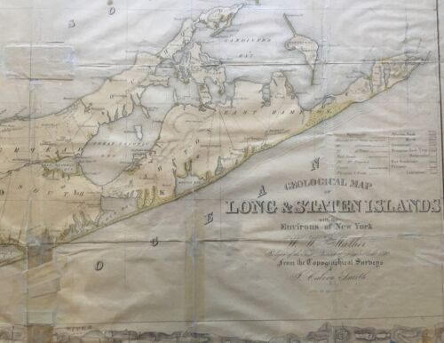 "ORIG 1842 MATHER GEOLOGICAL MAP OF LONG ISLAND, NYC, NJ, CT 23"" X 52"" FRAMED"