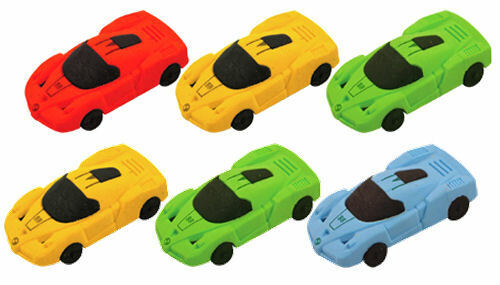 6 Racing Car Erasers - Pinata Toy Loot/Party Bag Fillers Rubbers