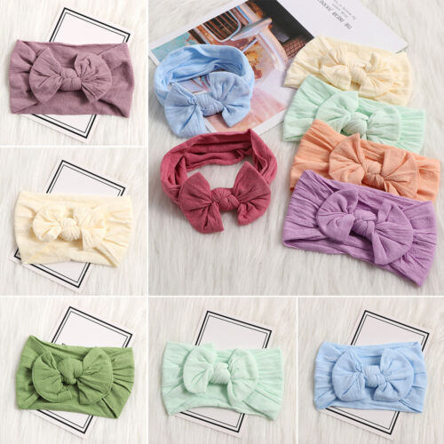 Baby Girl Bunny Rabbit Bowknot Turban Nylon Headband Elastic Hair Band Headwrap-