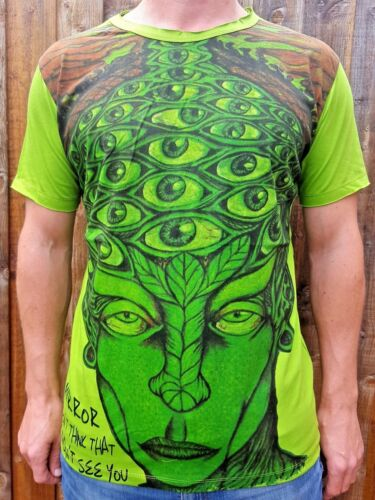 Green Man many Eyes Unique Artwork 100% Cotton 'Mirror' T shirt Med Large