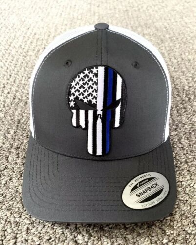 PUNISHER Thin Blue Line Hat USA Flag Police SnapBack Cap Handcrafted in the  USA! 9ca2267eb920