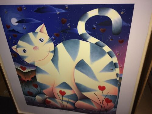 "MACKENZIE THORPE ""LOVE CAT"" Serigraph on Paper Ltd Ed. Signed Numbered Framed"