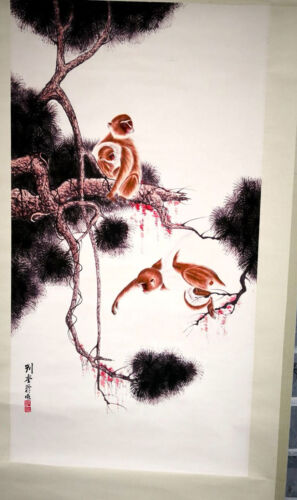 Chinese painting scroll Hand painted Animal, monkey on the branch