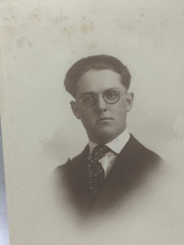 Antique Sepia Photo Photograph Young Man with Spectacles Glasses 24990