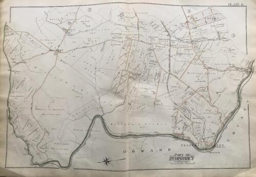 1898 BALTIMORE CO MARYLAND ELLICOTT CITY BELMONT THISTLE OAK FOREST ATLAS MAP