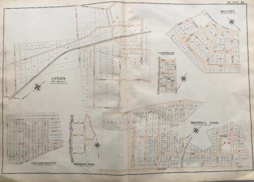 1898 BALTIMORE CO MARYLAND MELLINEE LEEDS MORRELL PARK SHERWOOD PARK ATLAS MAP