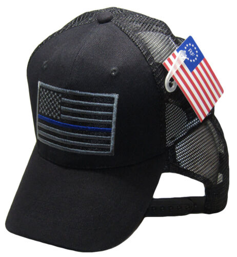 e4e783bf716 Black Grey MESH USA Tactical Thin Blue Line Hat Support Police Law  Enforcement