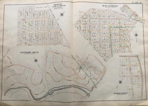 1898 BALTIMORE CO MARYLAND WINDSOR HILLS W. ARLINGTON DENMORE HEIGHTS ATLAS MAP