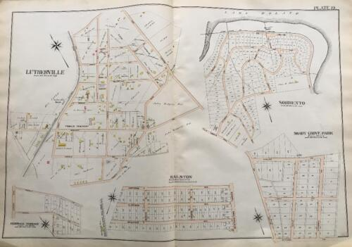 1898 BALTIMORE CO MARYLAND LUTHERVILLE SORRENTO RALSTON SHADY GROVE PK ATLAS MAP