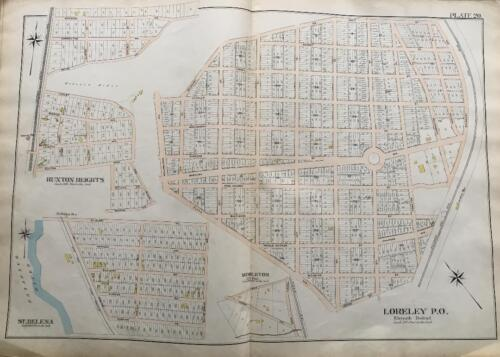 1898 BALTIMORE CO MARYLAND LORELEY RUXTON HEIGHTS MIDDLETON ST. HELENA ATLAS MAP