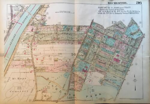 1926 ROCHESTER NEW YORK HIGHLAND PARK AND HOSPITAL MT. HOPE CEMETERY ATLAS MAP