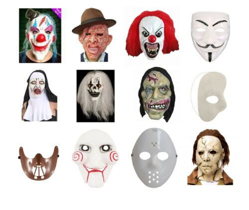 Adults Assorted Latex Full Face Fancy Dress Costume Masks Clown Witch Freddy Nun