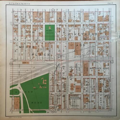 1925 DOWNTOWN KANSAS CITY MISSOURI GILLHAM ROAD HOLMES SQUARE ATLAS MAP