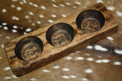 3 Hole Wooden Sugar Mold Wood Candle Holder Primitive Cheese Butter Press