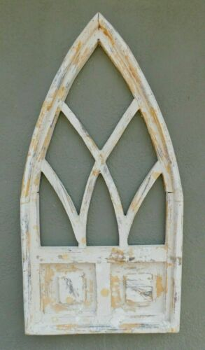 "Wooden Antique Style Church WINDOW Frame Primitive Wood Gothic 32"" Shabby"