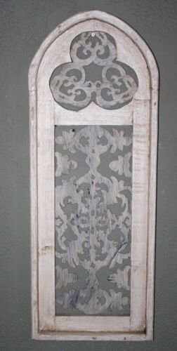 "Wooden Antique Style Church WINDOW Frame Primitive Wood Gothic 34"" Shabby"