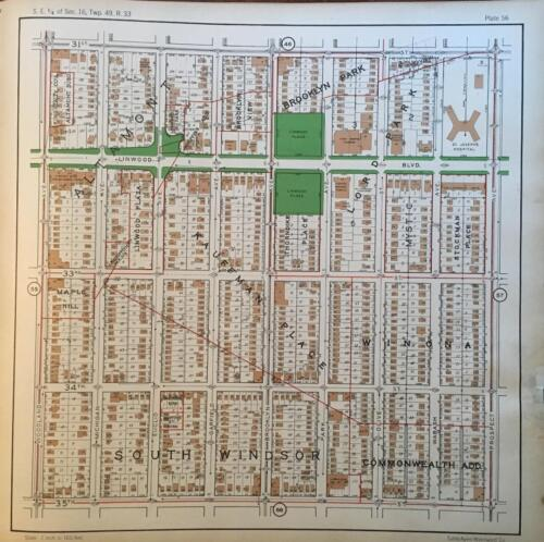 1925 KANSAS CITY MISSOURI OAK PARK N.W. LINWOOD PLAZA ST PETERS CHURCH ATLAS MAP