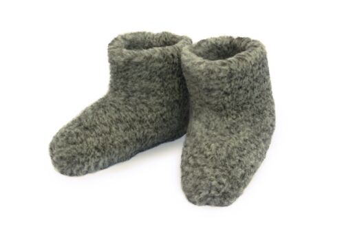 b1a0c1cbfdf UK 16 (EU 50) GREY WOOL MEN S BOOTS SLIPPERS SHEEP SUEDE LARGE GIANT WINTER