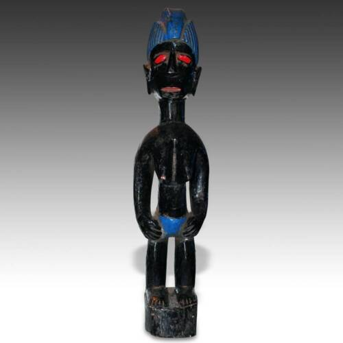 VINTAGE BLOLO OR SPIRIT SPOUSE FIGURE WOOD PAINTED BAULE IVORY COAST WEST AFRICA