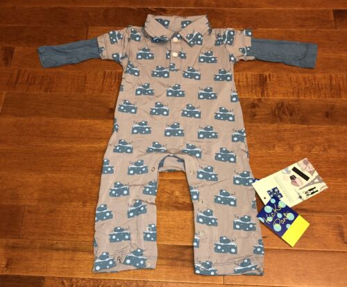 Kickee Pants Feather Mouse & Cheese Long Sleeve Polo Romper 3-6 Months New
