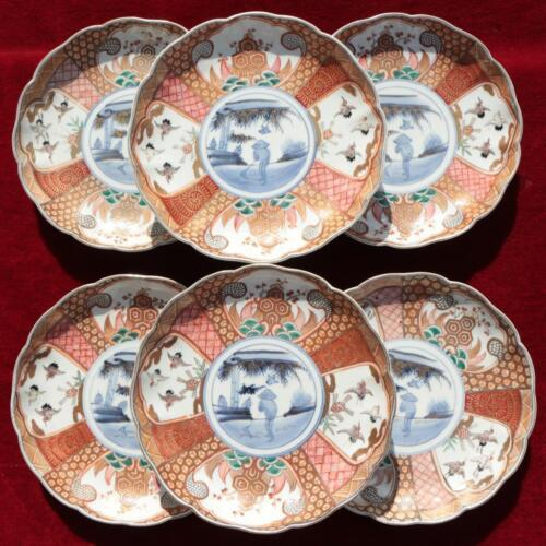 SET OF 6 JAPAN KUTANI IMARI CRANE BIRDS PORCELAIN PLATES FUKU MARK MEIJI PERIOD