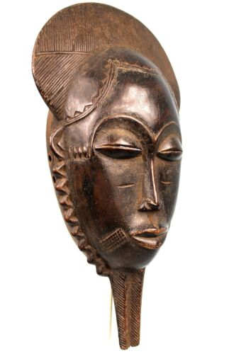 Art African - Mask Baoulé to Handle - Traces wear - African Mask - 35 Cm