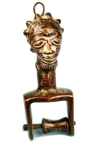 Art African - Antique - Pulley Occupation IN Loom Baoulé Bronze - 21 CMS