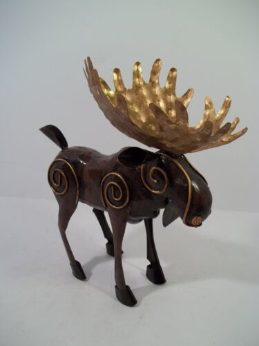 """METAL MOOSE STATUE w/Brass Color Antlers &  Details - 8"""" Tall"""