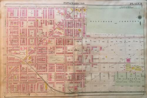 1906 BALTIMORE CEMETERY MARYLAND COLLINGTON SQUARE EASTERN H.S. ATLAS MAP