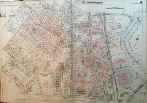 1929 BRIDGEPORT CT CONGRESS & CENTRAL H.S. FAIRFIELD COUNTY COURTHOUSE ATLAS MAP