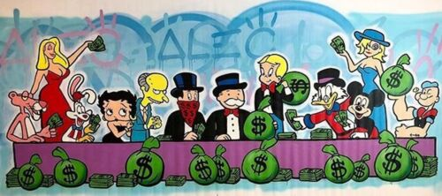 """Alec Monopoly Handcraft Oil Painting on Canvas ,""""Cartoon monopoly"""" 20×50"""