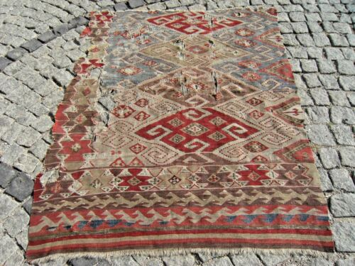 Fabulous Antique Awesome  Primitive Collections West Anatolian Fragment Kilim