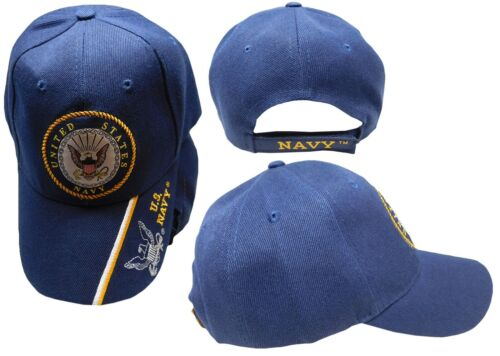 79b3a16415514 U.S. Navy Emblem With Shadow On Bill Navy Blue Embroidered Cap CAP602L Hat