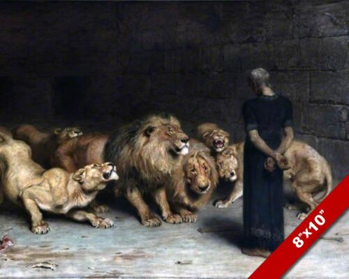 DANIEL IN AMONG THE LIONS DEN OIL PAINTING BIBLE ART GICLEE PRINT ON REAL CANVAS