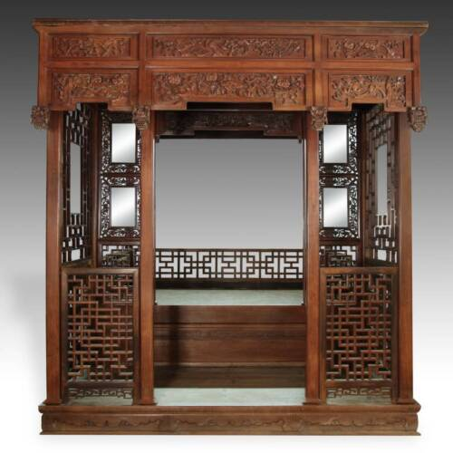 RARE ANTIQUE CHINESE WEDDING BED CARVED ROSEWOOD MIRROR FURNITURE CHINA 19TH C.
