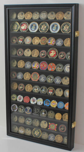 LOCKABLE Large 108 Challenge Coin Display Case Cabinet Pin Medal, Glass DoorOther Militaria - 135