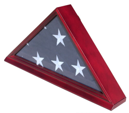 Burial/Memorial Flag Display Case for 5'X9.5' Folded, Solid wood, Real Glass