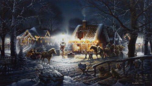 "Sweet Memories By Terry Redlin Christmas Lights Print  18"" x 10.5"""